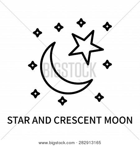 Star And Crescent Moon Icon Isolated On White Background. Star And Crescent Moon Icon Simple Sign. S