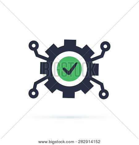 Technology Development, Cogwheel And Check Mark, Innovation Concept, System Integration, Software Bu