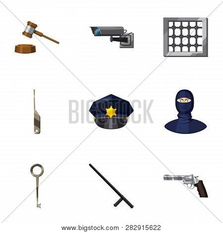 Court Decision Icons Set. Cartoon Set Of 9 Court Decision Icons For Web Isolated On White Background