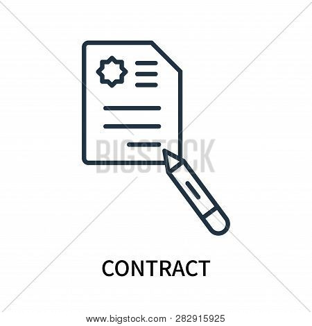 Contract Icon Isolated On White Background. Contract Icon Simple Sign. Contract Icon Trendy And Mode