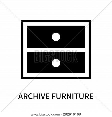 Archive Furniture Of Two Drawers Icon Isolated On White Background. Archive Furniture Of Two Drawers