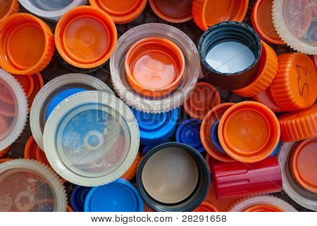 Colorful plastic caps
