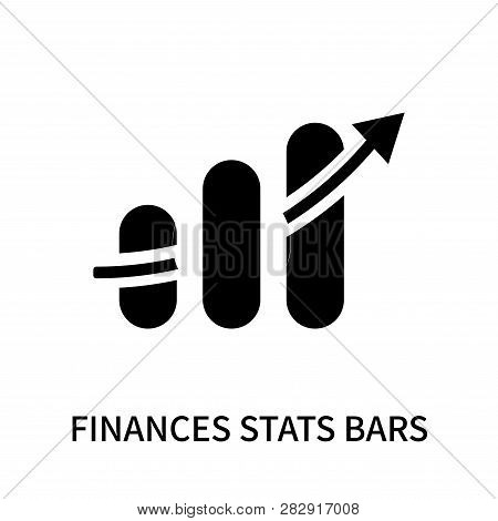 Finances Stats Bars Graphic With Up Arrow Icon Isolated On White Background. Finances Stats Bars Gra