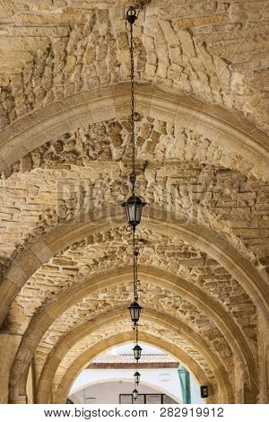 Arched Gallery Of Chirch Made Of Stones, With Beautiful Lamps, Symmetry, Architecture, Cyprus, St. L