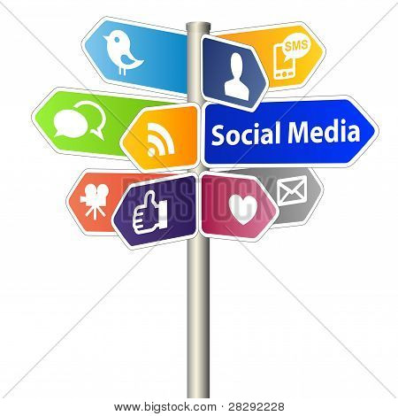 poster of Social Media Network Sign on white background