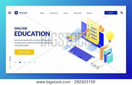 Online Computer Quiz. Landing Page Or Banner Design Template. Vector 3d Isometric Illustration. Inte