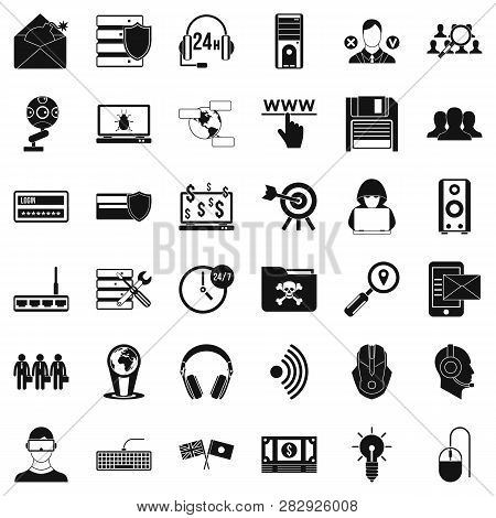 Cyber Crime Icons Set. Simple Style Of 36 Cyber Crime Icons For Web Isolated On White Background
