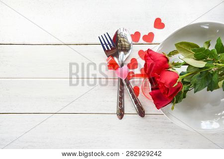 Valentines Dinner Romantic Love Food And Love Cooking Concept - Romantic Table Setting Decorated Wit