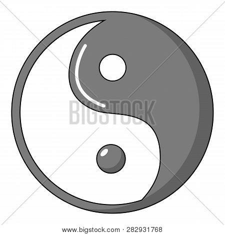 Yin yang symbol taoism icon. Cartoon illustration of yin yang symbol taoism icon for web design poster