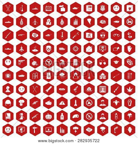 100 oppression icons set in red hexagon isolated illustration poster