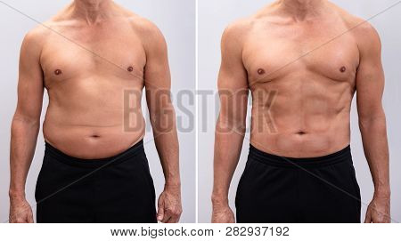 Portrait Of A Mature Man Before And After Weight Loss On White Background. Body Shape Was Altered Du