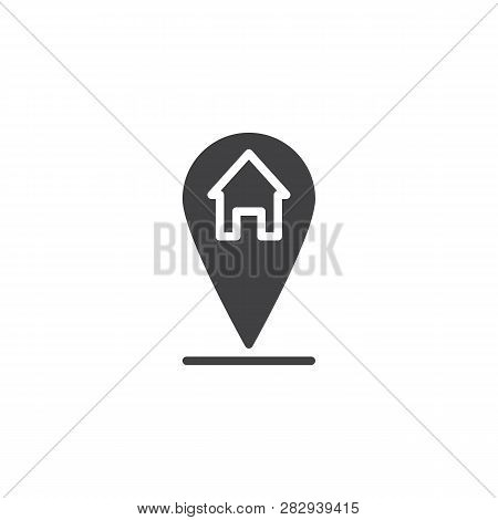 Home Location Pin Vector Icon. Filled Flat Sign For Mobile Concept And Web Design. Map Pointer House