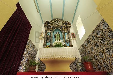 Luso, Portugal - July 23, 2018:  View Of The Beautiful 18th Century Baroque Wooden Altarpiece Of The