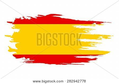 Spain Flag. Brush Painted Spain Flag Hand Drawn Style Illustration With A Grunge Effect And Watercol