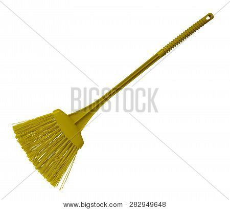 Yellow Plastic Broom With Long Handle Isolated On White. Clipping Path Included.