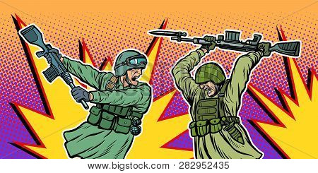 War And Hatred. Soldiers Kill Each Other. Pop Art Retro Vector Illustration Kitsch Vintage
