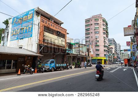 Keelung, Taiwan - September 5, 2018: Street View Of Keelung City At Day, Ordinary People Are On The