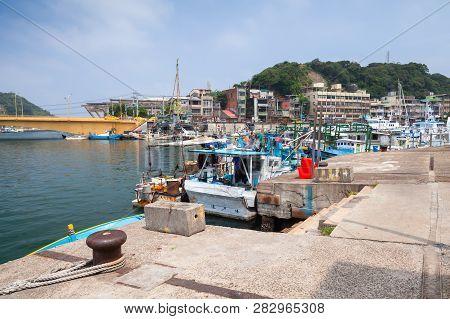 Keelung, Taiwan - September 5, 2018: Fishing Harbor Of Keelung City At Day