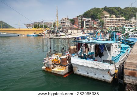 Keelung, Taiwan - September 5, 2018: Boats Are In Fishing Harbor Of Keelung City At Day