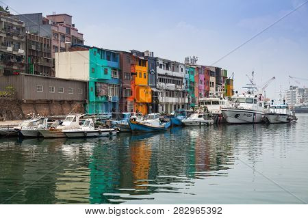 Keelung, Taiwan - September 5, 2018: Fishing Harbor Landscape, Old Colorful Houses Placed Along The