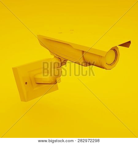 Yellow Cctv Camera Or Security Camera. 3d Illustration.