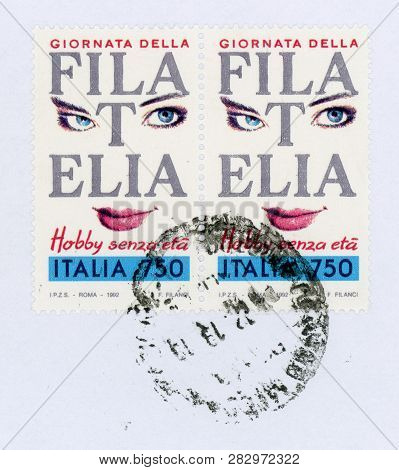 Rome, Italy - Circa February 2019: A Stamp Printed By Italy Showing Philately Ageless Hobby (filatel