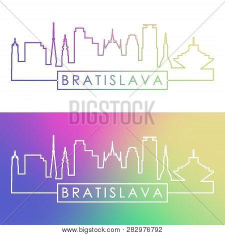 Bratislava Skyline. Colorful Linear Style. Editable Vector File.