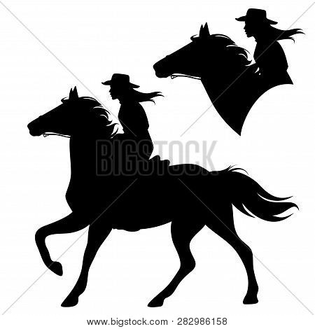 Cowgirl Riding Running Horse - Beautiful Female Horseback Cowboy Black And White Vector Silhouette S