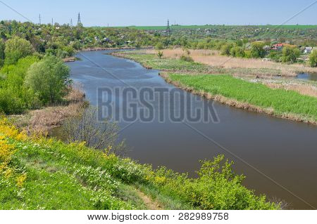 Spring Landscape With Sura Riverside And Summer Cottages Near Dnipro City, Ukraine