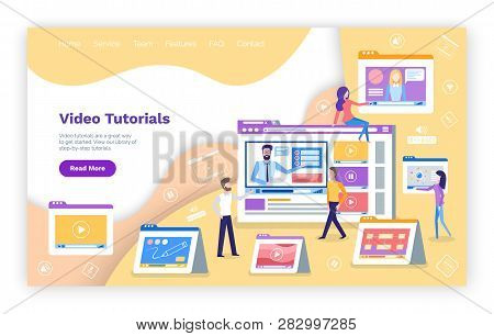 Video Tutoring Online Courses With Tutors Explaining Vector. Computer Monitor With Male Teacher And