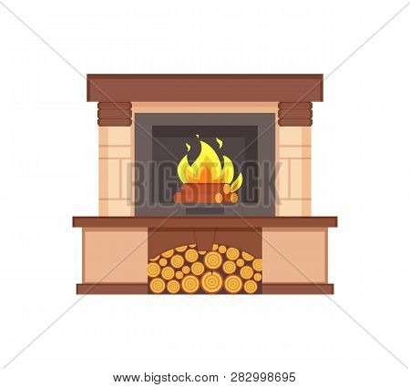 Fireplace With Burning Logs Wooden Fuel Inside Isolated Icon Vector. Container With Wood Branches Of