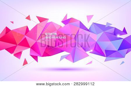Vector Abstract Geometric Low Poly 3d Shape. Origami Facet Style Banner, Background. Purple And Red