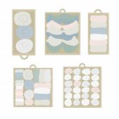Drawer organization Vector icon set. Closet organization illustration. House keeping. Tidy up. Declutter and tidying up concept. Different drawers with folded clothes. Bras, socks, shirts in drawers poster