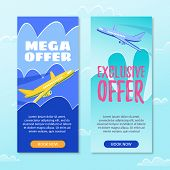 Mega Offer. Exclusive Offer. Book Now. Plane gaining Altitude. Flight from Airport. Air Route. Sale Air Tickets. Booking Charter Flight. Air Carrier. Service Sky Transportation Tourist. poster