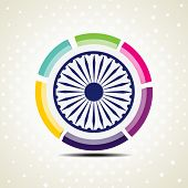 Vector illustration of colorful template frame with Asoka Wheel on dotted background for Independence Day and Republic Day. poster