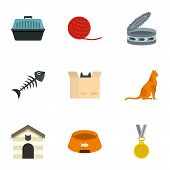 Cat house icons set. Cartoon set of 9 cat house icons for web isolated on white background poster