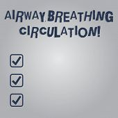 Writing note showing Airway Breathing Circulation. Business photo showcasing Memory aid for rescuers performing CPR Blank Color Rectangular Shape with Round Light Beam Glowing in Center. poster