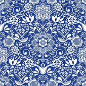 Seamless folk art vector pattern with birds and flowers, Scandinavian repetitive floral design in white on navy blue poster