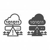 Cloud cyber attack line and glyph icon. Ddos server hack vector illustration isolated on white. Server attack outline style design, designed for web and app. Eps 10. poster