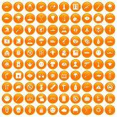100 oppression icons set in orange circle isolated illustration poster