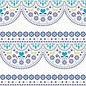 Mexican folk art vector seamless pattern with flowers and geometric shapes, repetitive textile design poster
