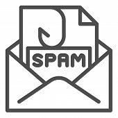 Spam mail line icon. Spam letter in envelope vector illustration isolated on white. Message with hook outline style design, designed for web and app. Eps 10. poster
