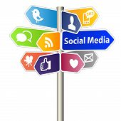 Social Media Network Sign on white background poster