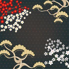 Japanese Gold Geometric Background With Pine Tree, Sakura, And Plum Flowers