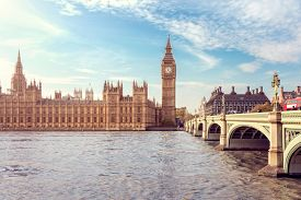 Big Ben, the Houses of Parliament and Westminster Bridge in London, England
