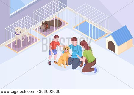 Pet Adoption, Family Plays With Dog At Animal Shelter, Isometric Illustration. Family Mother And Fat