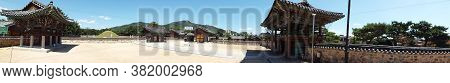 Gimhae, Busan, South Korea, September 1, 2017: Panoramic View Of King Suro Tomb Compound. Legendary