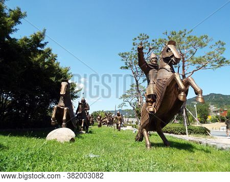 Gimhae, Busan, South Korea, September 1, 2017: Bronze Reproduction Of A Small Army Of Warriors From