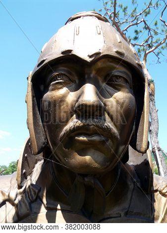 Gimhae, Busan, South Korea, September 1, 2017: Close-up Of A Geumgwan Gaya Kingdom-era Warrior (43 -