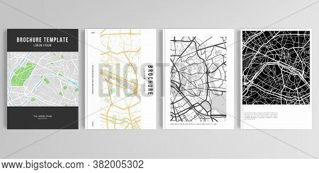 Realistic Vector Layouts Of Cover Mockup Design Templates In A4 Format With Urban City Map Of Paris